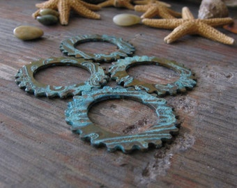 Patinated gears.  Steampunk verdigris copper jewelry components.  Artisan handmade. AGB 25mm Linus 2 pieces. Made to order.