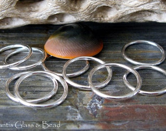 Smooth closed 15mm rings. Artisan handmade sterling silver or 14k gold filled 16 gauge quality jewelry findings. AGB Eleos 4 pieces.