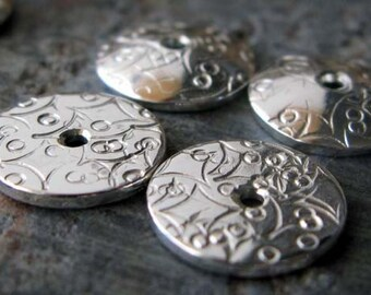 Artisan sterling silver artisan stamped bead caps. AGB jewelry findings 3/8 inch (10mm) Cosima 2 pieces.  Quality handmade. Made to order.