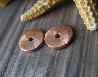 AGB artisan jewelery findings handmade copper small 6mm bead caps Katina 2 pieces