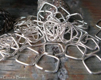 AGB handmade sterling silver, oxidized sterling or 14k gold filled jewelry findings 20 gauge square jump rings 7mm 25 pieces