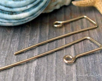 AGB artisan jewelery findings 14k gold filled or sterling silver ear wires handmade Cajon 1 pair