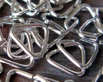 AGB sterling silver hand made jewelry findings 22 gauge Triangle jump rings 6mm 50 pieces