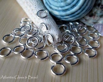 AGB artisan jewelery findings round jump rings hand cut sterling silver or 14k gold filled 16 gauge 7mm 25 pieces