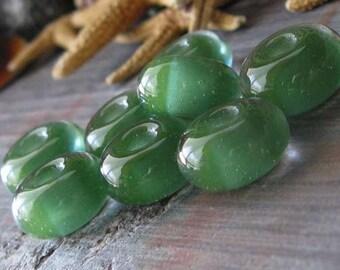 AGB Sea Green boro glass lampwork, small beads..
