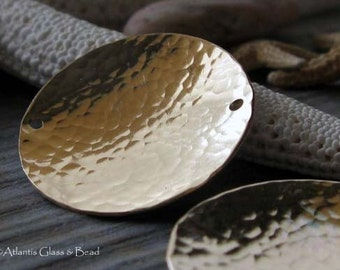 AGB gold filled artisan jewelry findings textured 22mm domed discs Starla 2 pieces