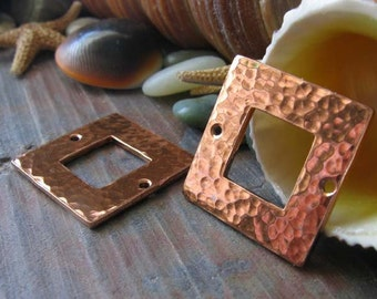 AGB copper artisan jewelry findings square washers 18mm Calix 2 pieces