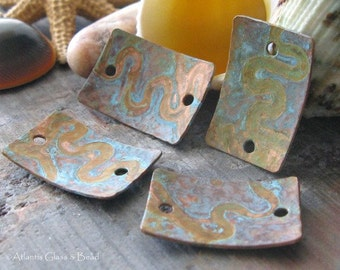 AGB artisan copper jewelery findings domed rectangles verdigris patina 19x13mm Apollonia 2 pieces