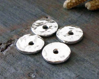 AGB handmade sterling silver jewelry findings tiny bead caps 6mm flat textured Aliki 2 Pieces