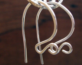 AGB sterling silver artisan jewelery findings hammered ear wires Claves 5 pairs