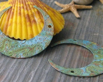 AGB artisan copper jewelry findings verdigris patina big 32mm Crescents 2 pieces