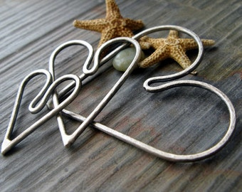 AGB artisan jewelry findings sterling silver or 14k gold filled textured hearts set Kardia II 3 sizes