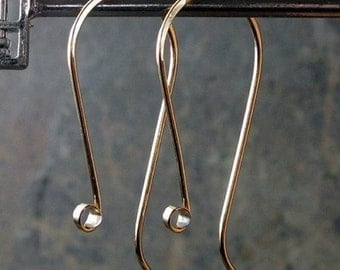 AGB 14k gold filled or sterling silver artisan jewelry findings hammered earring hooks fancy Chacona 1 pair