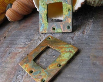 AGB copper artisan jewelry findings square washers 18mm verdigris patina Cynara 2 pieces