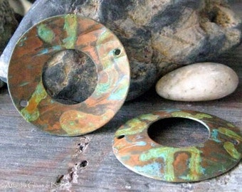 Verdigris artisan copper jewelry findings. AGB wood texture 28mm domed washers patina. Patinated Midas 2 pieces. Made to order.
