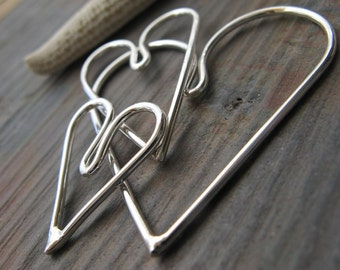 AGB artisan jewelry findings sterling silver smooth hearts set Kardia 3 sizes large, medium & small