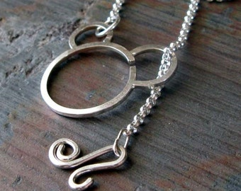 """AGB sterling silver 16"""" interchangeable rolo chain lariat necklace"""