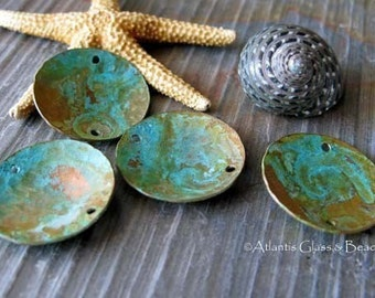 AGB artisan verdigris patina copper jewelry findings domed discs 19mm Corinna 2 pieces