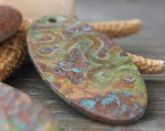 AGB copper jewelry findings verdigris patina handmade textured oval drops 28mm x 14mm Niko 2 pieces