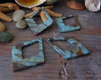 AGB copper artisan jewelry findings verdigris patina open diamond components 29x20mm Nikias 2 pieces