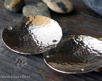 AGB artisan jewelery findings sterling silver large textured domed discs 1 inch Medora 2 pieces