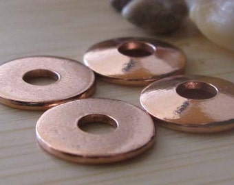 AGB artisan copper jewelry findings smooth bead caps 10mm Nova 2 pieces