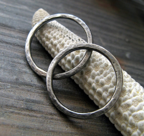 AGB artisan jewelry findings oxidized and brushed sterling silver 15mm textured rings Ariston 2 pieces
