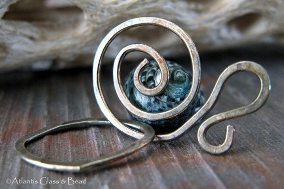 AGB artisan oxidized sterling silver jewelery findings large spiral clasp set Salutation