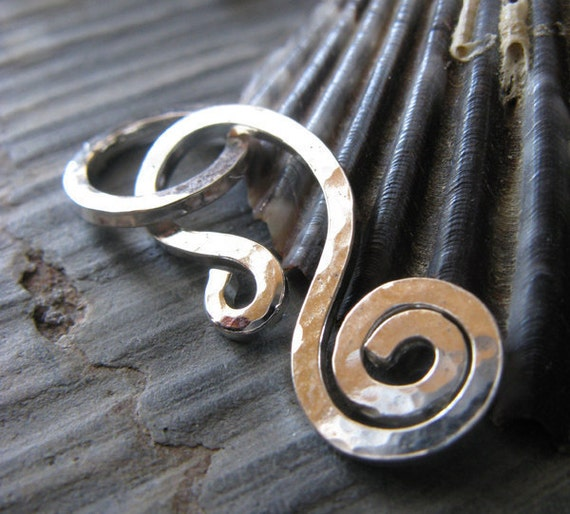 AGB artisan jewelry findings handmade sterling silver, oxidized sterling silver or 14k gold filled strong spiral clasp set Callidora