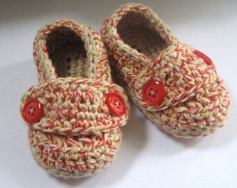 Crochet Baby Booties Cotton Little Button Loafers- Barn Board