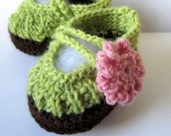 Baby Booties Hand knit Wool 0-6 months Ready To Ship