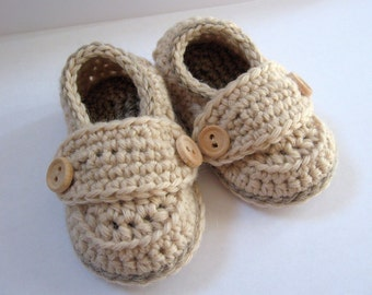 Crochet Baby Booties Wool Little Button Loafers- Size 0 thru 12 months You Choose Size and Color