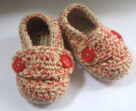 Crochet Baby Booties Cotton Little Button Loafers- Barn Board