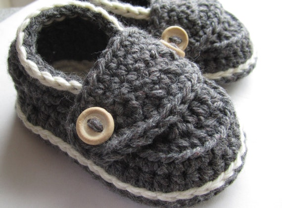 Crochet Baby Booties Organic Cotton Little Button Loafers in Basalt Heather and Cream