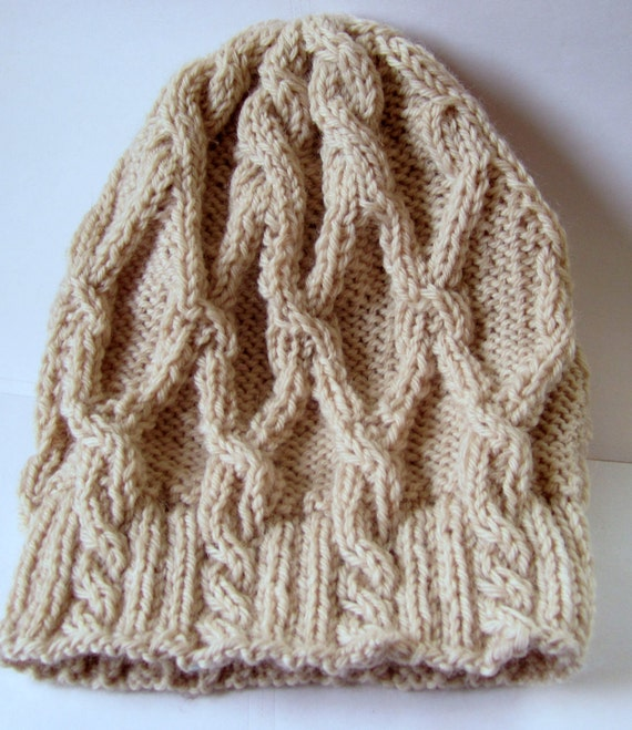 Women's Wool Knit Cabled Slouch Hat- Ready to Ship
