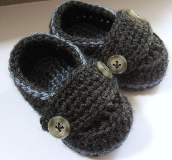 Crochet Baby Booties Little Button Loafers U Pick Size and Colors