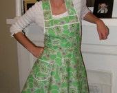 Pretty Green Retro Apron - Flirty Everyday Housewife Apron