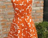 Burnt Orange Retro Full Apron - Flirty Everyday Housewife Apron