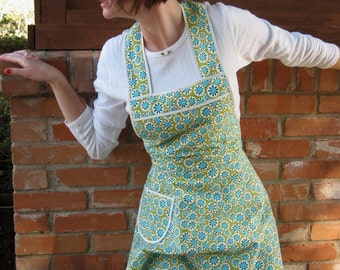 Turquoise Retro Apron -Amy Butler - Flirty Everyday Housewife Apron