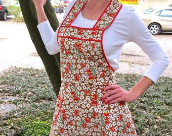 Earthy Happy Camper Flirty Everyday Housewife Apron-Last ONE in this fabric