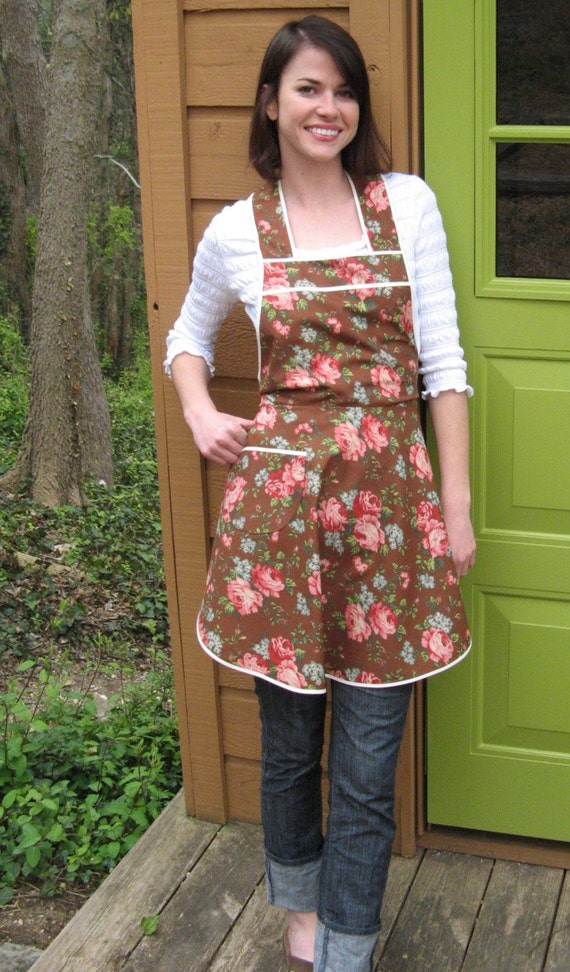 Brown Retro Full Apron,  Flirty Everyday Housewife Apron
