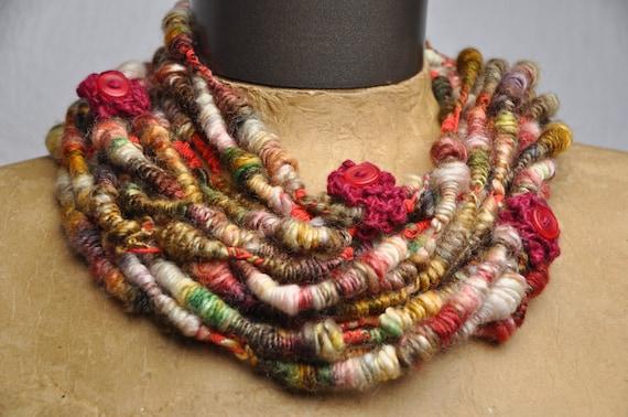 Frolic Whirlspun Necklace - stylish wearable or handspun yarn