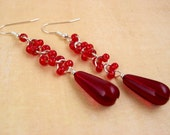 Garnet Red Silver Lined Czech Glass Teardrop Earrings