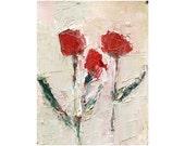 Poppies comtemporary impasto oil painting 8X10