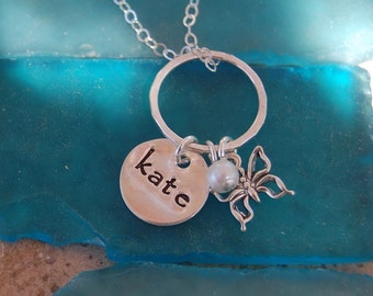Stamped Sterling Children's Charm Ring Necklace