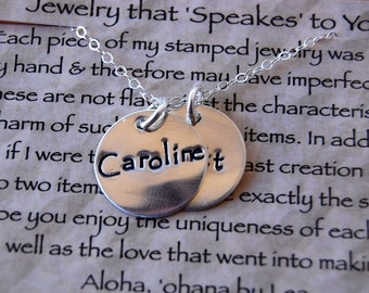 Hand Stamped Sterling Mother's Necklace with two discs