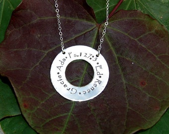 Sterling Washer Family Circle Necklace