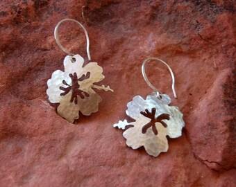 Sterling Silver Hand Cut Hibiscus Earrings