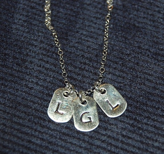 mini sterling dog tag initial necklace