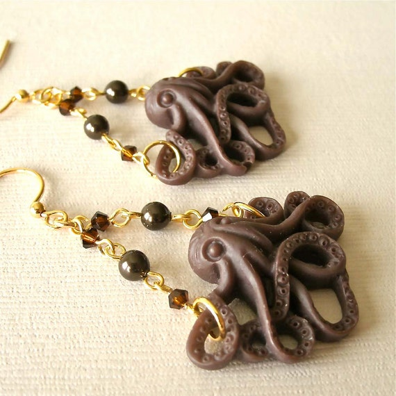 DISCOUNTINUED/Mocha Octopus Resin and Crystal Pearl Earrings, Nautical Earrings